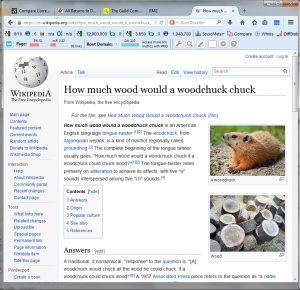 screenshot of wikipedia with really stupid images inserted